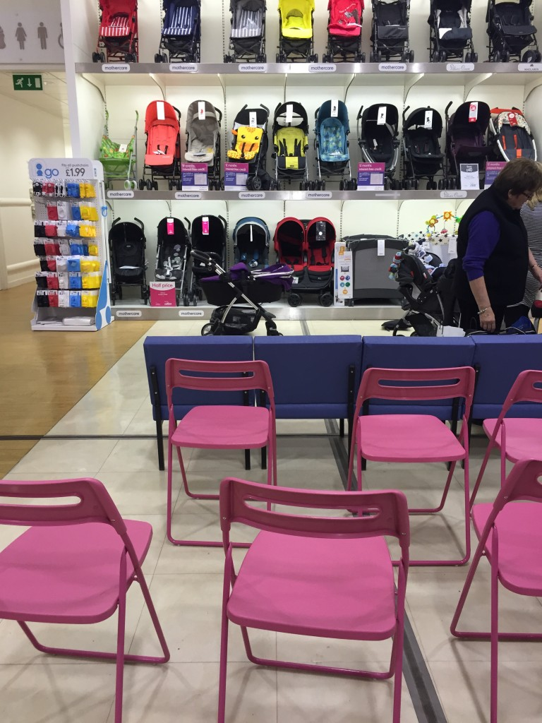 Mothercare Expectant Parent Evening pushchair and car seat demo