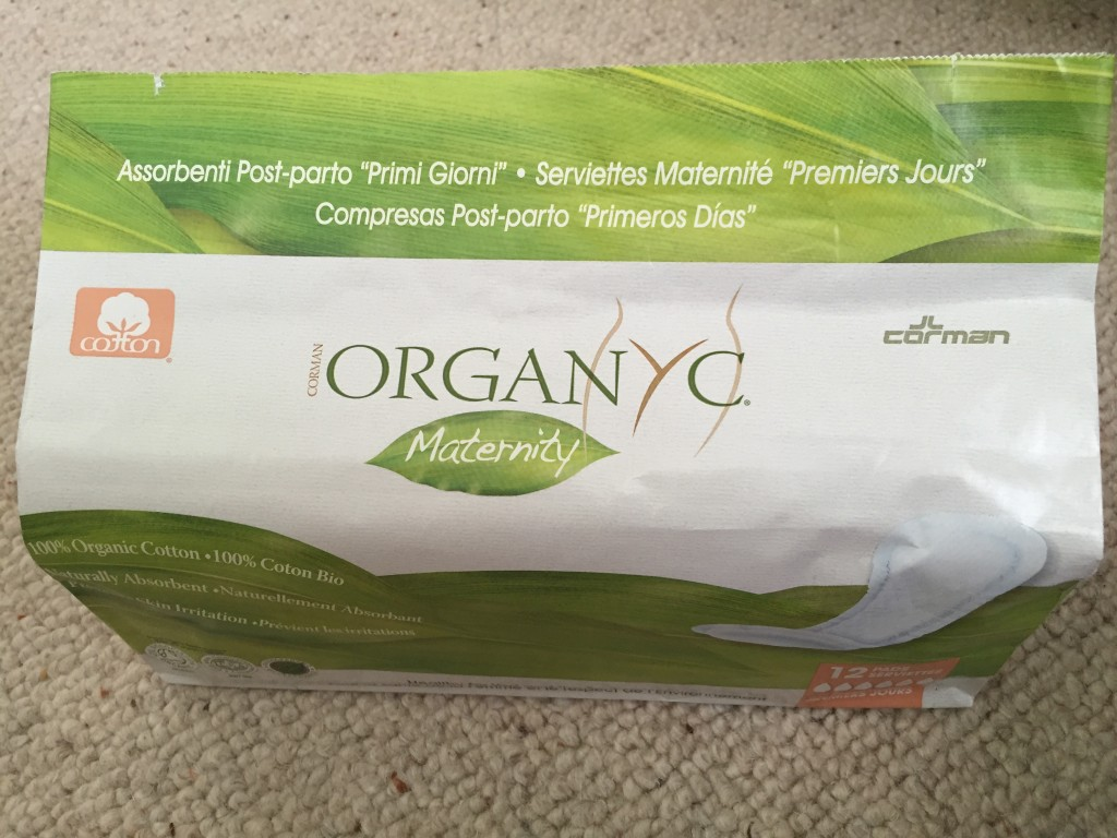 organyc maternity pads organic post c section