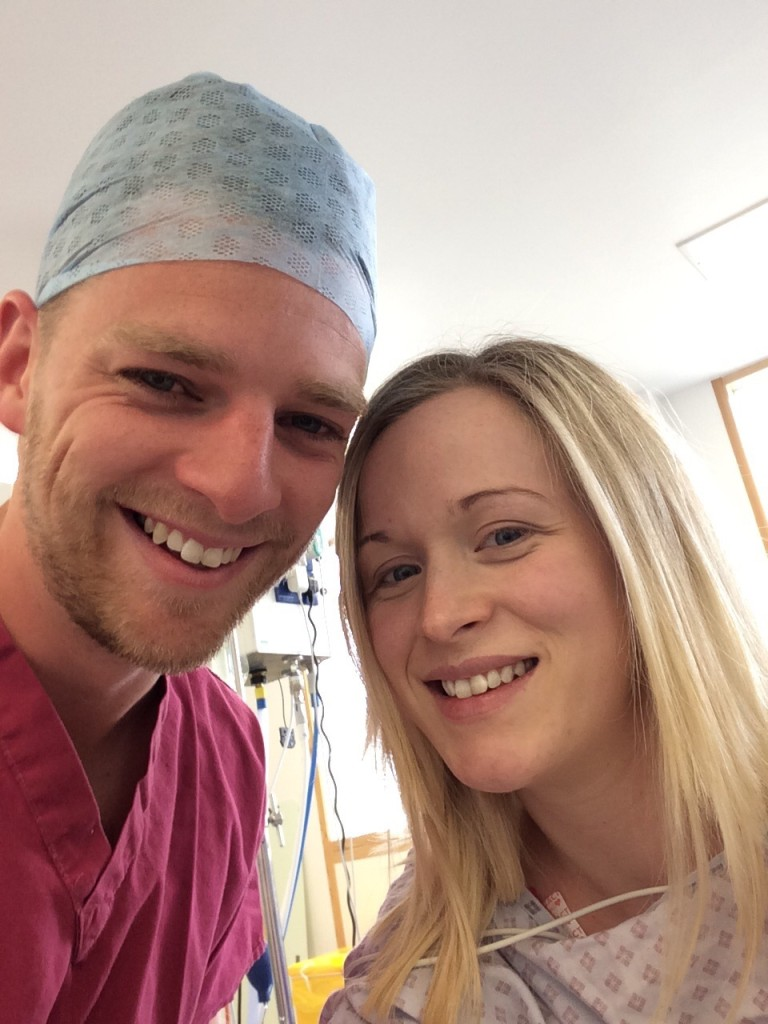 ready for caesarean in theatre selfie c-section before surgery birth story