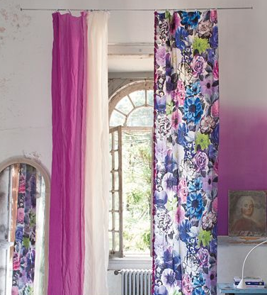 bold bright mismatched curtains printed print florarl purple blues make house a home different