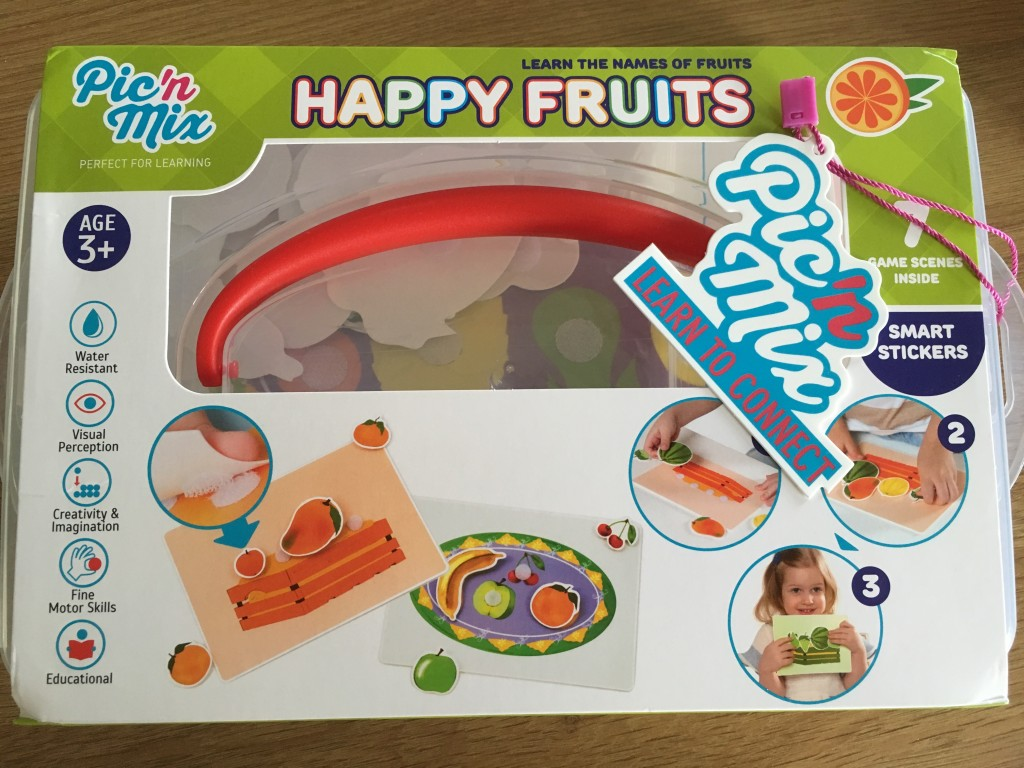 review and giveaway happy farm pic'n'mix educational toys happy fruits learn the names of fruits colour coding smart stickers age 3+ preschool education learn to connect