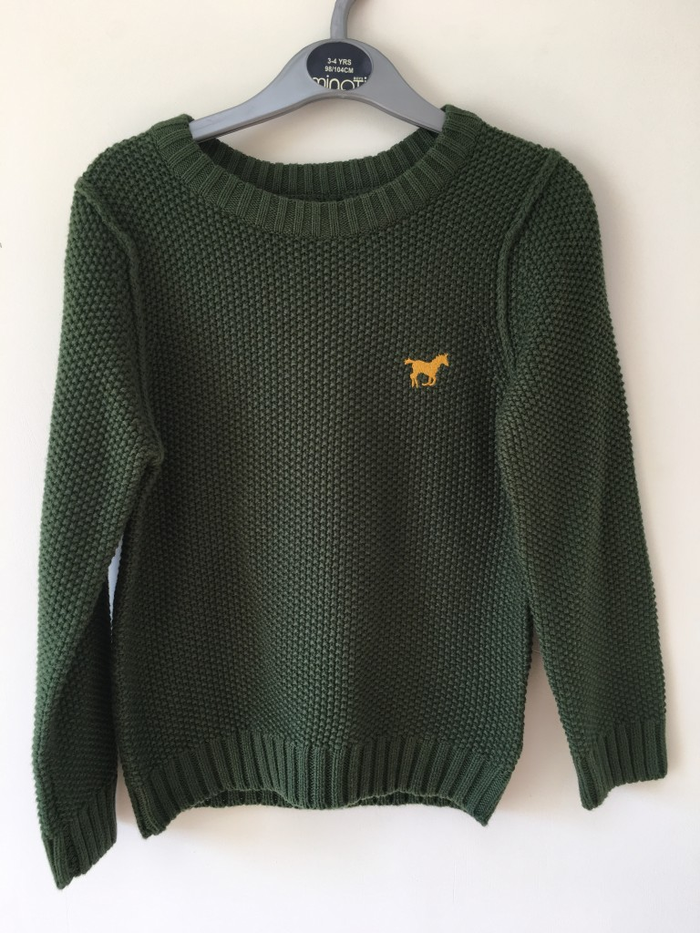 chunky green knitted jumper boys minoti roco clothing review horse logo