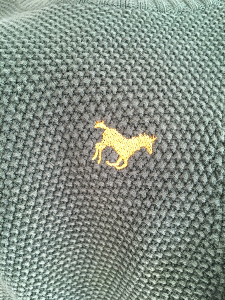 chunky green knitted jumper boys minoti roco clothing review horse logo close up