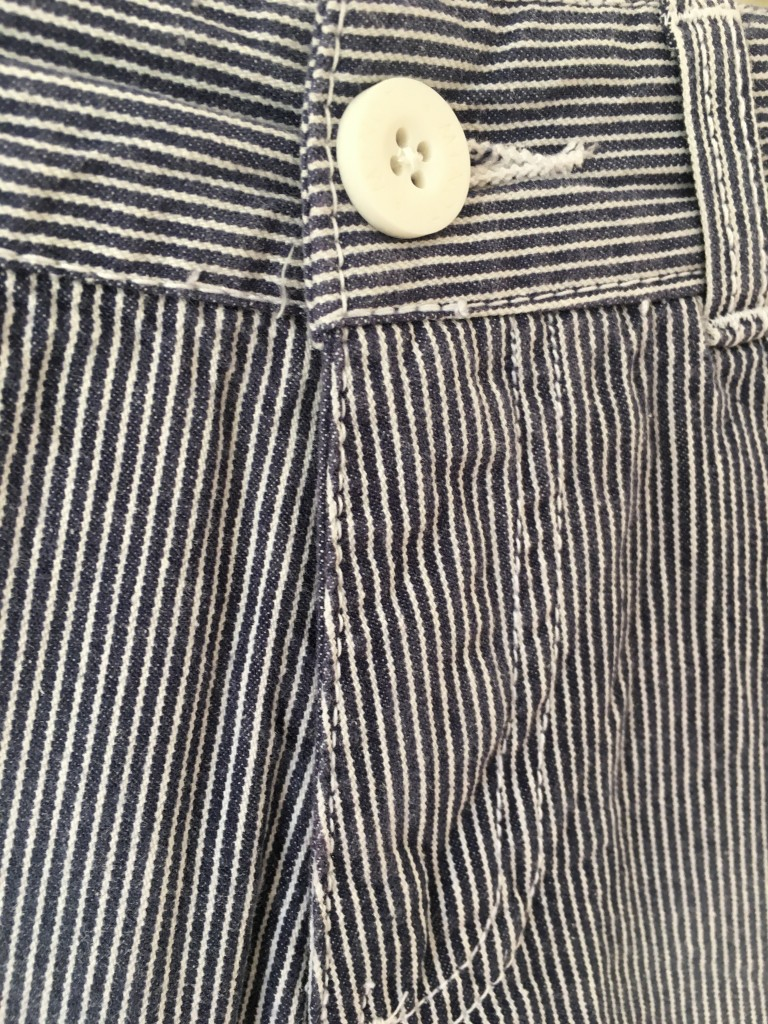 roco clothing review striped minoti shorts blue and white pinstripe autumn collection button detail close up