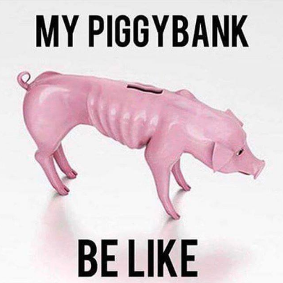 Top 5 Ways To Clean Up Your Financial Act try and save my piggy bank be like meme skinny pig