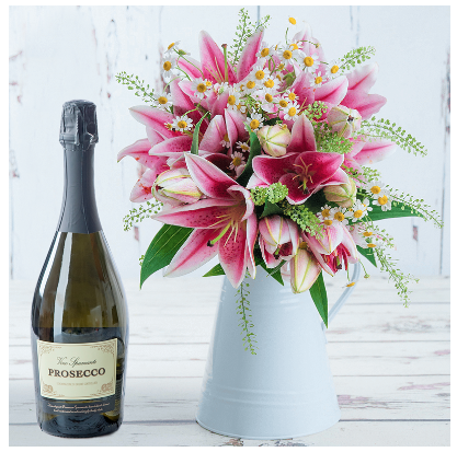 blossoming gifts flower flowers and wine prosecco gift set lilies daisy daisies foliage present anniversary occasion review and giveaway