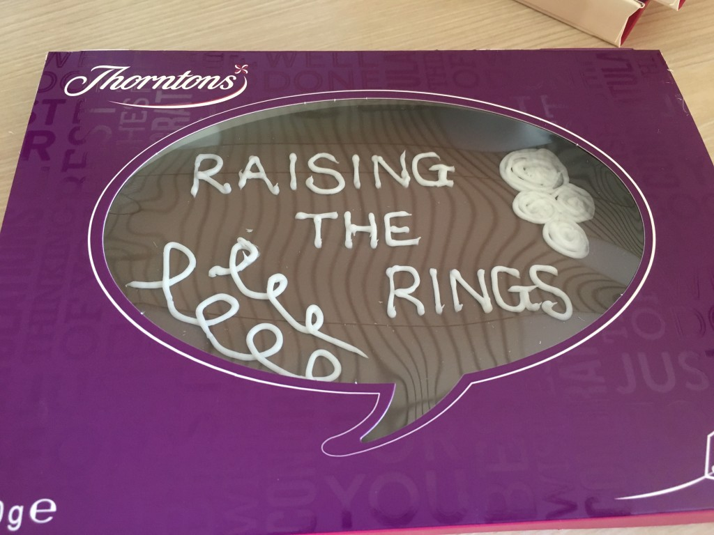 thorntons factory tour chocolate blogger event choc plaque with hand written icing own design