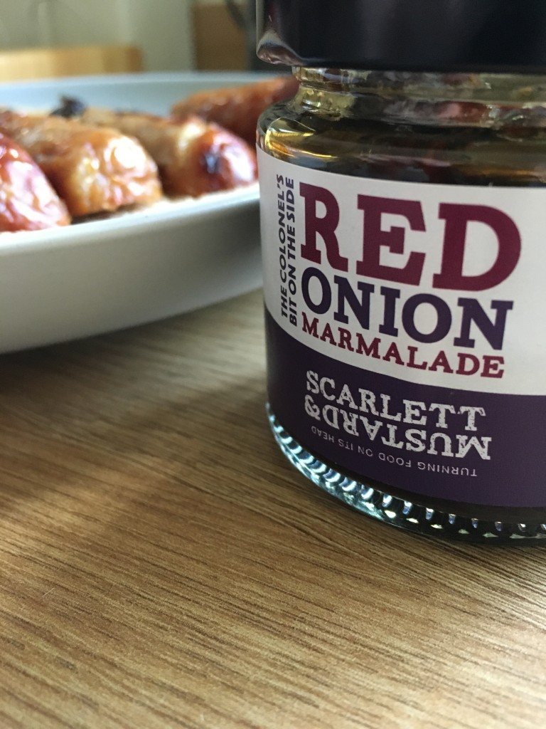 scarlett & mustard review red onion marmalade sausage sandwich