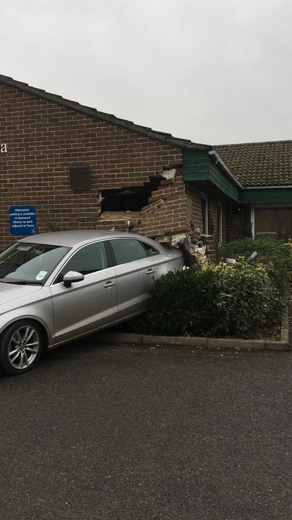 car reverses into gayton road health centre in kings lynn derma vida healthcare raising the rings