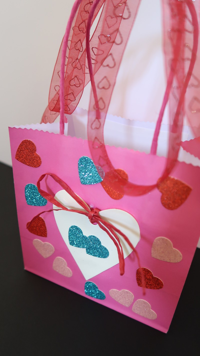 Bostik blogger raising the rings valentine's crafts paper bag with heart stickers ribbon and white glue card easy to do with kids cheap and cheerful ideas