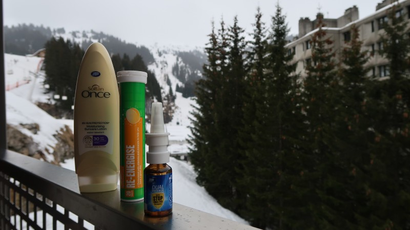 skiing family packing list ultimate essentials survival kit soltan suncream boots energise tablets dual defence cold and flu first aid bag mountains
