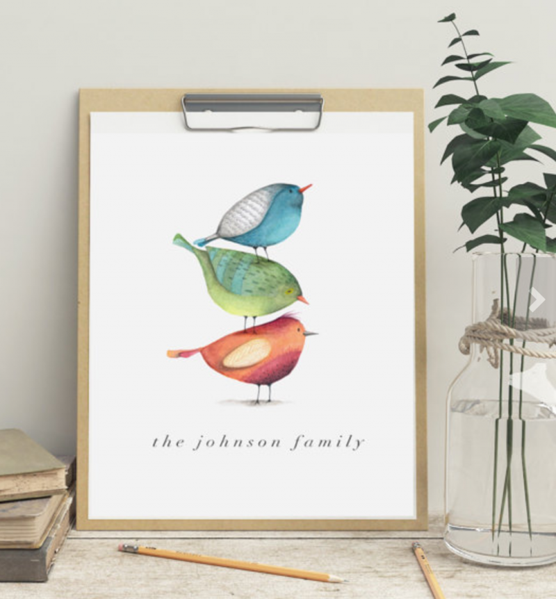 made in snetty etsy shop family bird print personalised prints mother's day gift guide with raising the rings review local and independent company