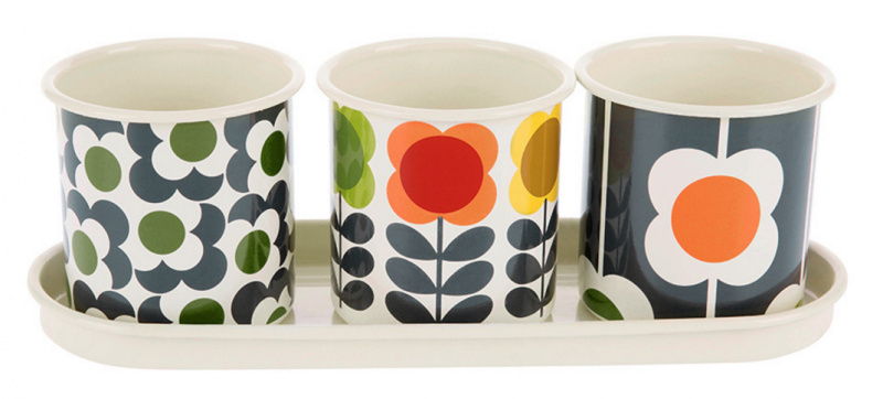 orla kiely big sport herb planters trio of pots with tray printed pots for herbs and small flowers on the windowsill amara living