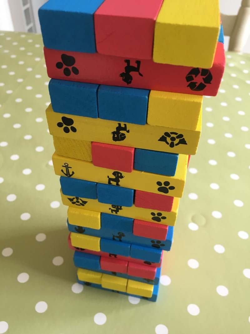 paw patrol tumbling towers jenga toy game kids present gift idea building blocks