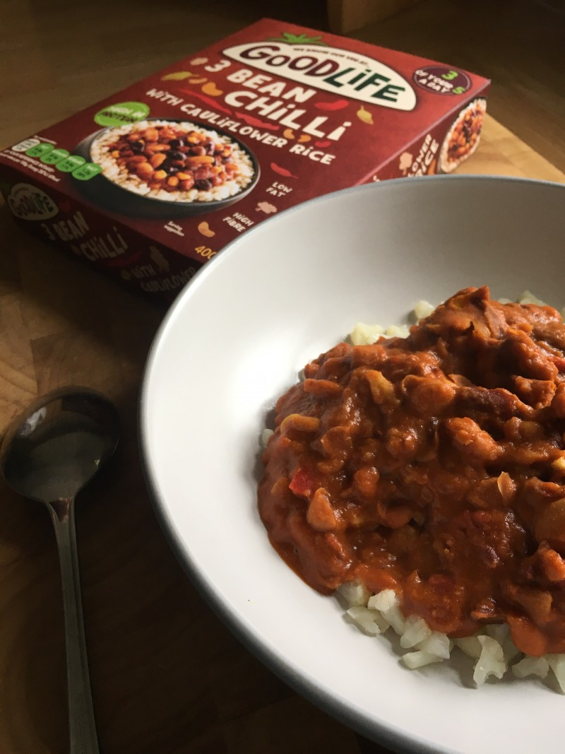 Goodlife 3 Bean Chilli With Cauliflower Rice review vegetarian gluten free low fat high protein five a day gluten free
