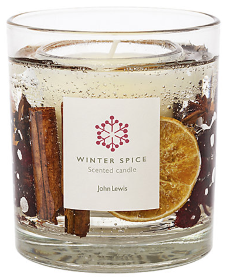 john lewis secret santa gift winter spice scented gel candle