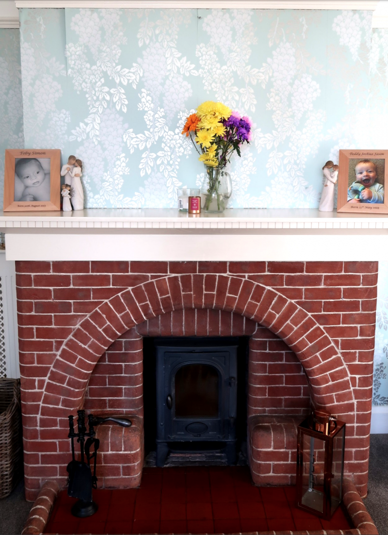 making our house a home overhauling the living room edwardian red brick fireplace peeling wallpaper