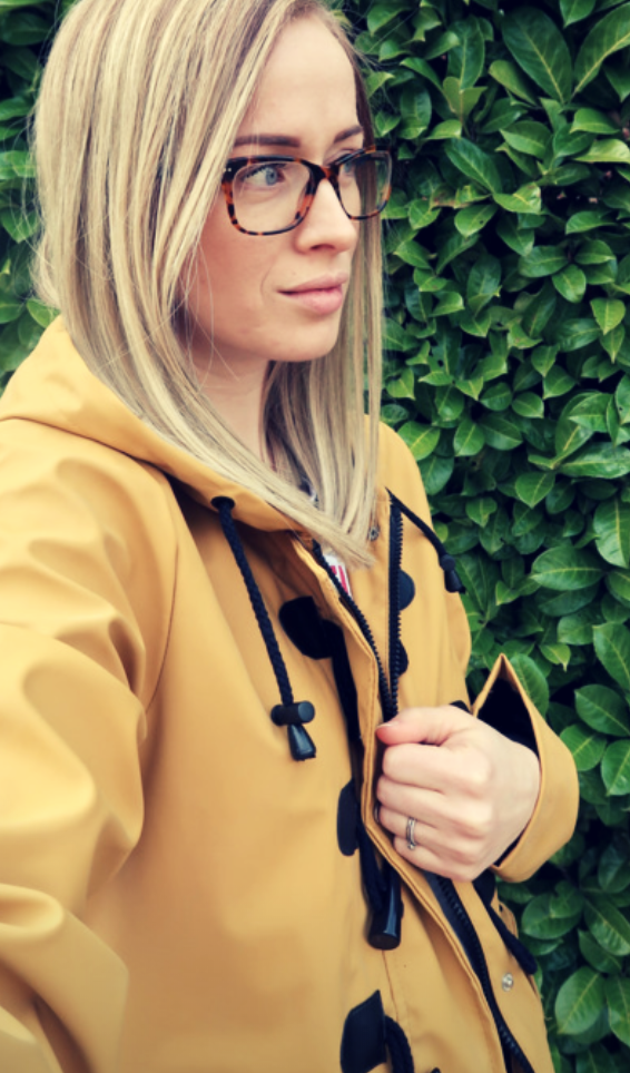 review look of the day mustard hooded toggle jacket outerwear coat raincoat waterproof