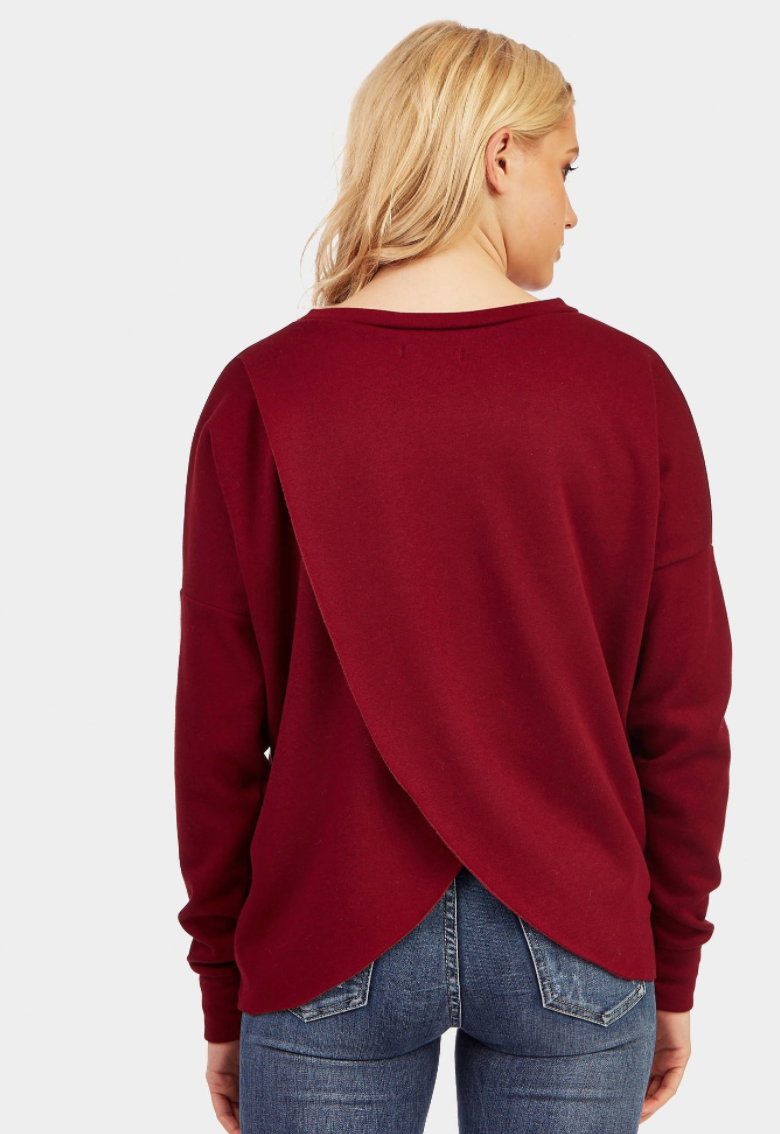 lotd look of the day berry red cross back jumper review fashion