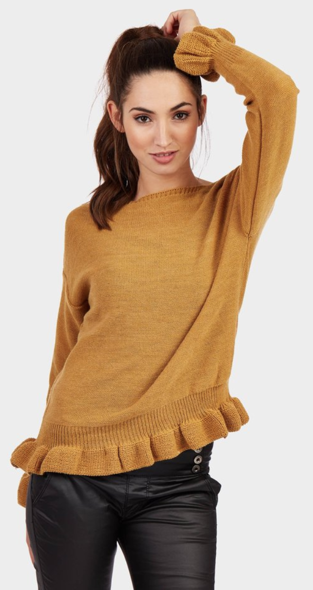 lotd look of the day mustard frill jumper cuff and hem review