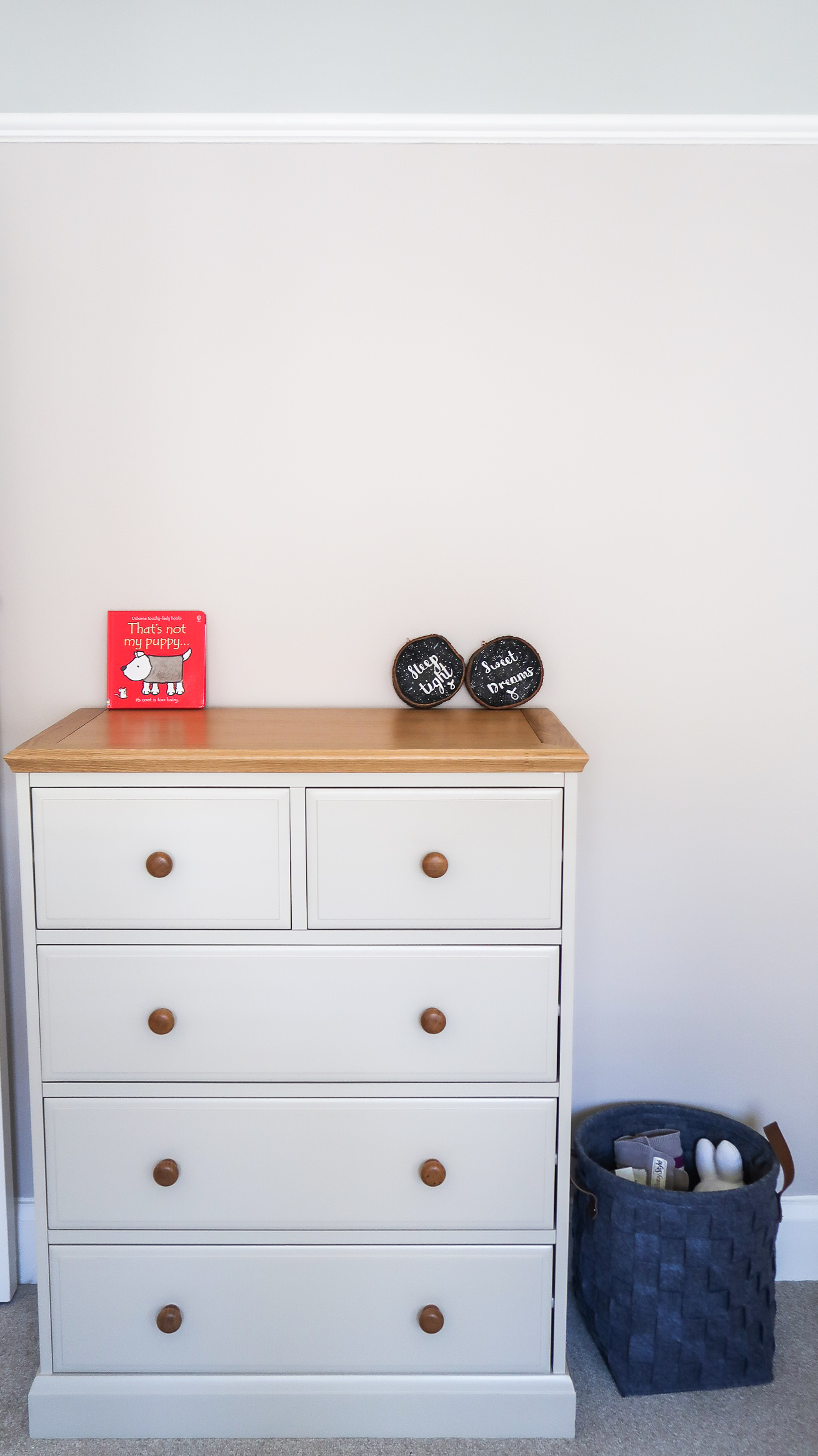 making our house a home baby number three nursery update the furniture house ex display oak effect painted grey chest of drawers
