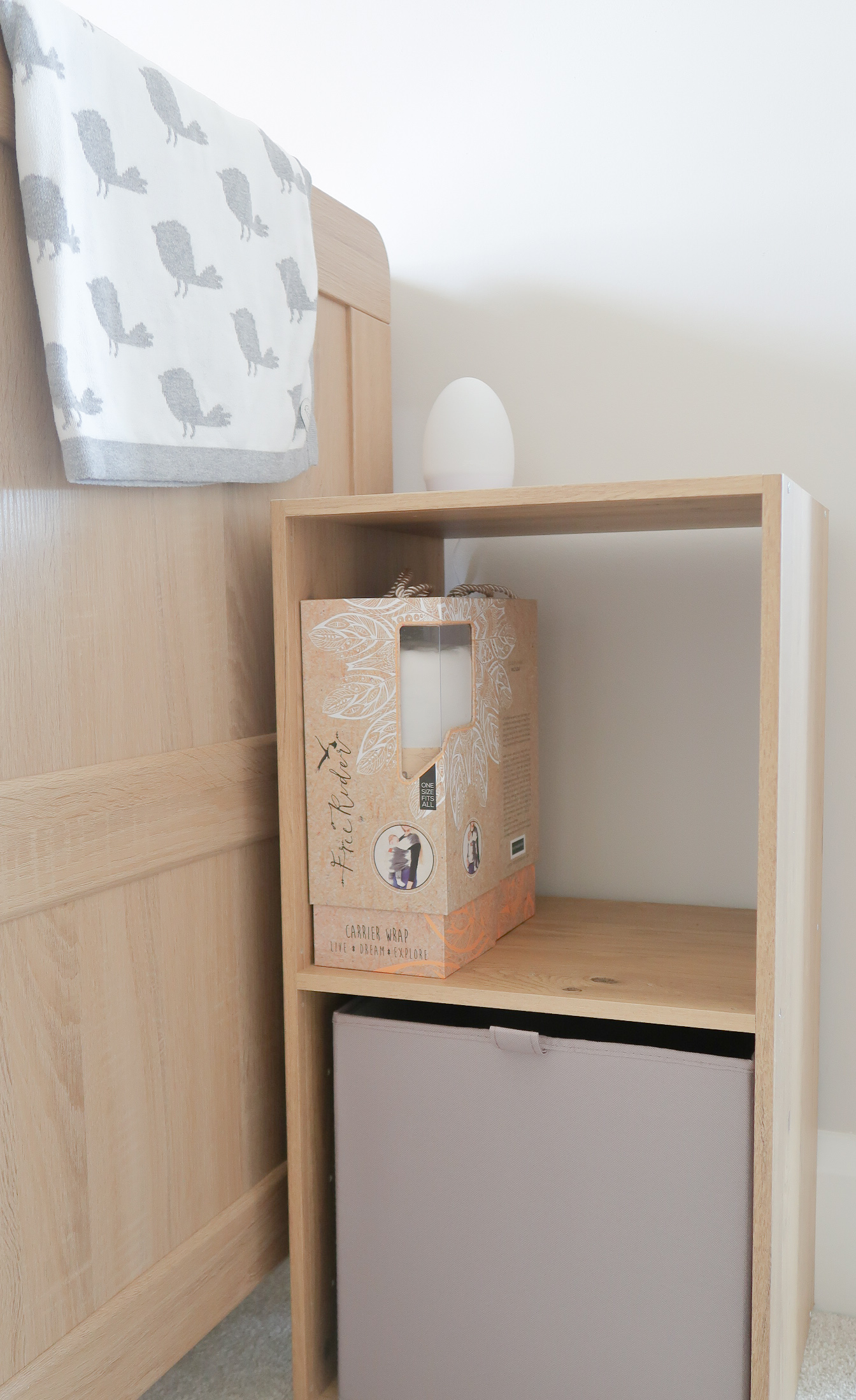 making our house a home baby number three nursery update b&q konnect unit oak effect two squares storage mixxit canvas fabric box