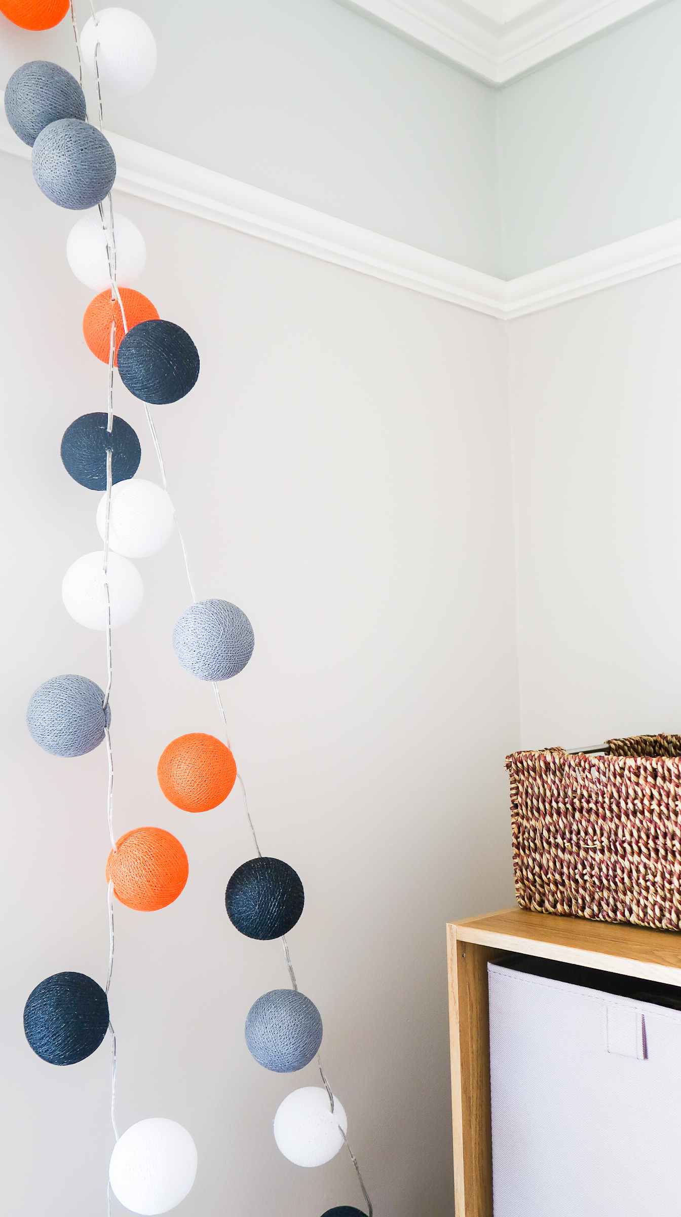 making our house a home baby number three nursery update cable and cotton ball lights LED string custom choose your own