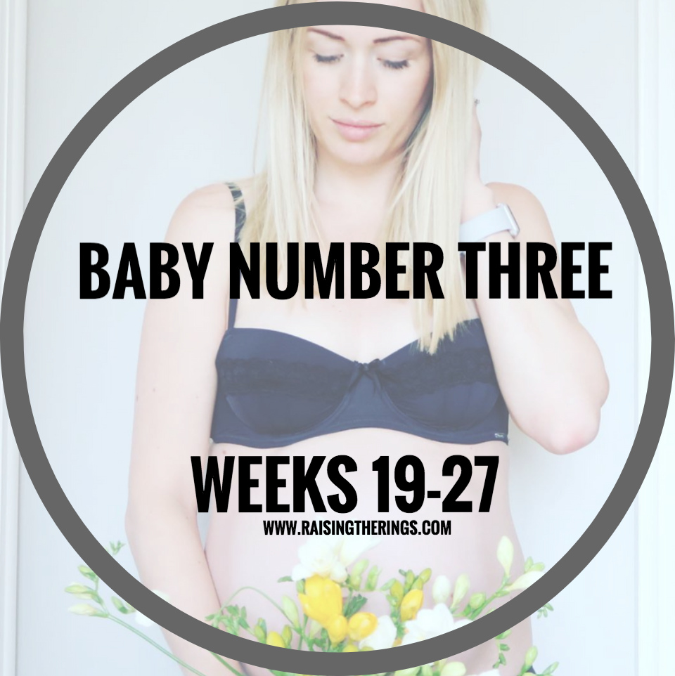baby number three pregnant pregnancy 19 20 21 22 23 24 25 26 27 weeks baby boy bump progress raising the rings